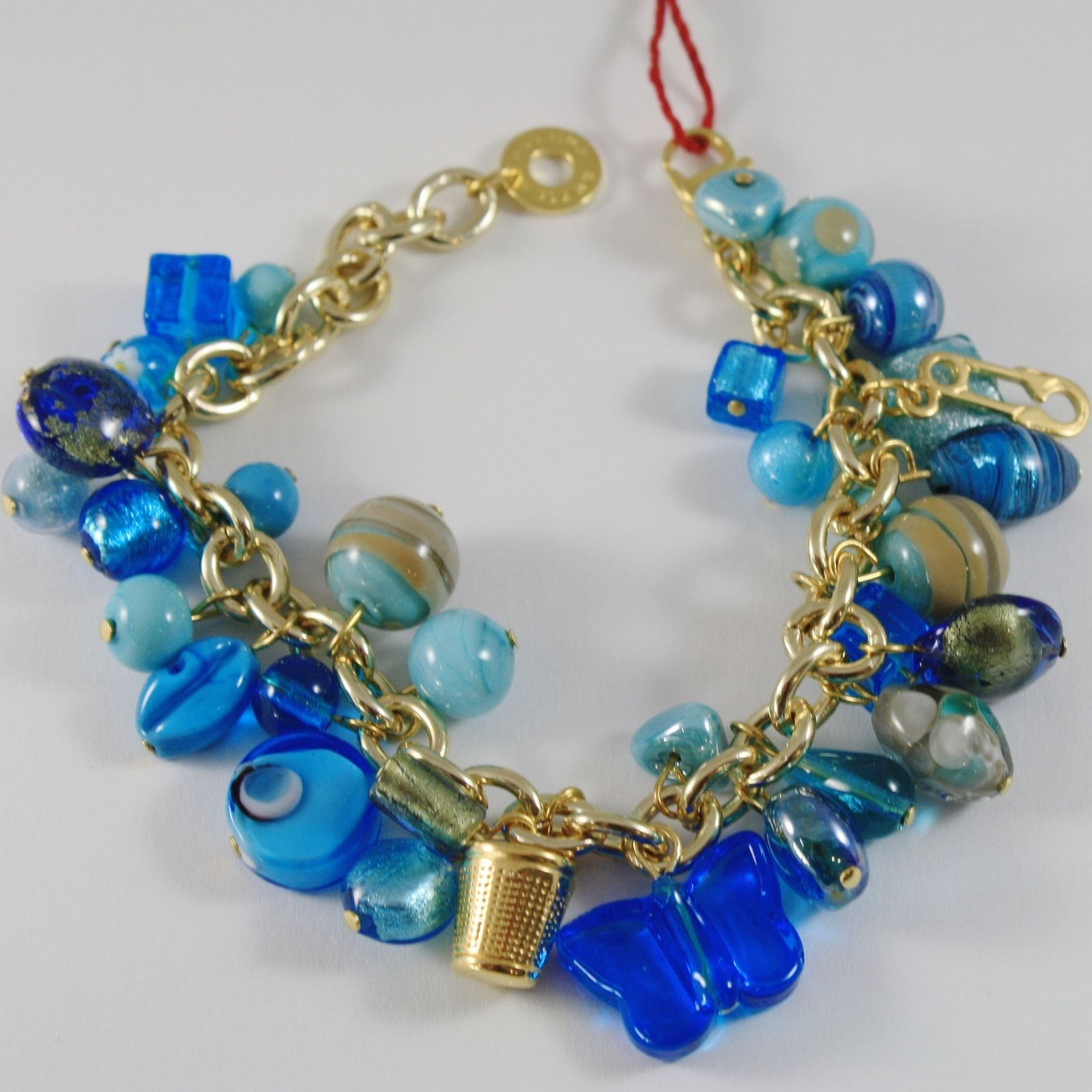 ANTICA MURRINA VENEZIA YELLOW BRACELET BLUE TURQUOISE PENDANTS CHARMS