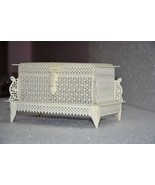 Antique Handmade Bone Carved Floral Motif Jewelry box with Gift Wooden Box - $130.42