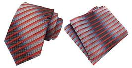 MOHSLEE Men Silver Orange Stripe Silk Tie Necktie Handkerchief Pocket Square Set image 2