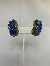 Vintage Iridescent Blue And Green Beaded Clip On Earrings (1767) - $10.00