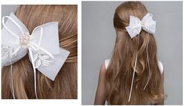 Cute Girl Bow Tie Hair Clip Hairpin White Wedding Flower Girl Hair Accessories  image 5