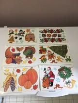 1995 Vintage Window Clings Christmas Thanksgiving 6 sheets Creative Hori... - $19.35