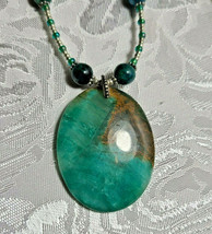 "Turquoise Green Agate Pendant  Glass Beaded Necklace 19""      (#36)"
