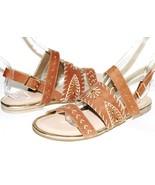✿ VERY VOLATILE Summa Golden Studded Stitched Tan Leather Sandals 8 M NE... - $46.54