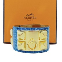 HERMES Shiny Colvert Blue Alligator Collier de Chien CDC Bracelet GHW *NEW* - $1,599.00