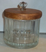 Art Deco Ribbed Salt Tub with Wooden Lid and Glass Knob - $10.44