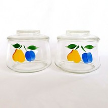 Bartlett Collins Trapezoid Squatty Jars Gay Fad Hand Painted Clear Glass... - $34.99