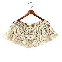 Women's Hollow-out Shawl Capelet Short Shirt Blouse, Lobular Grass, BEIGE
