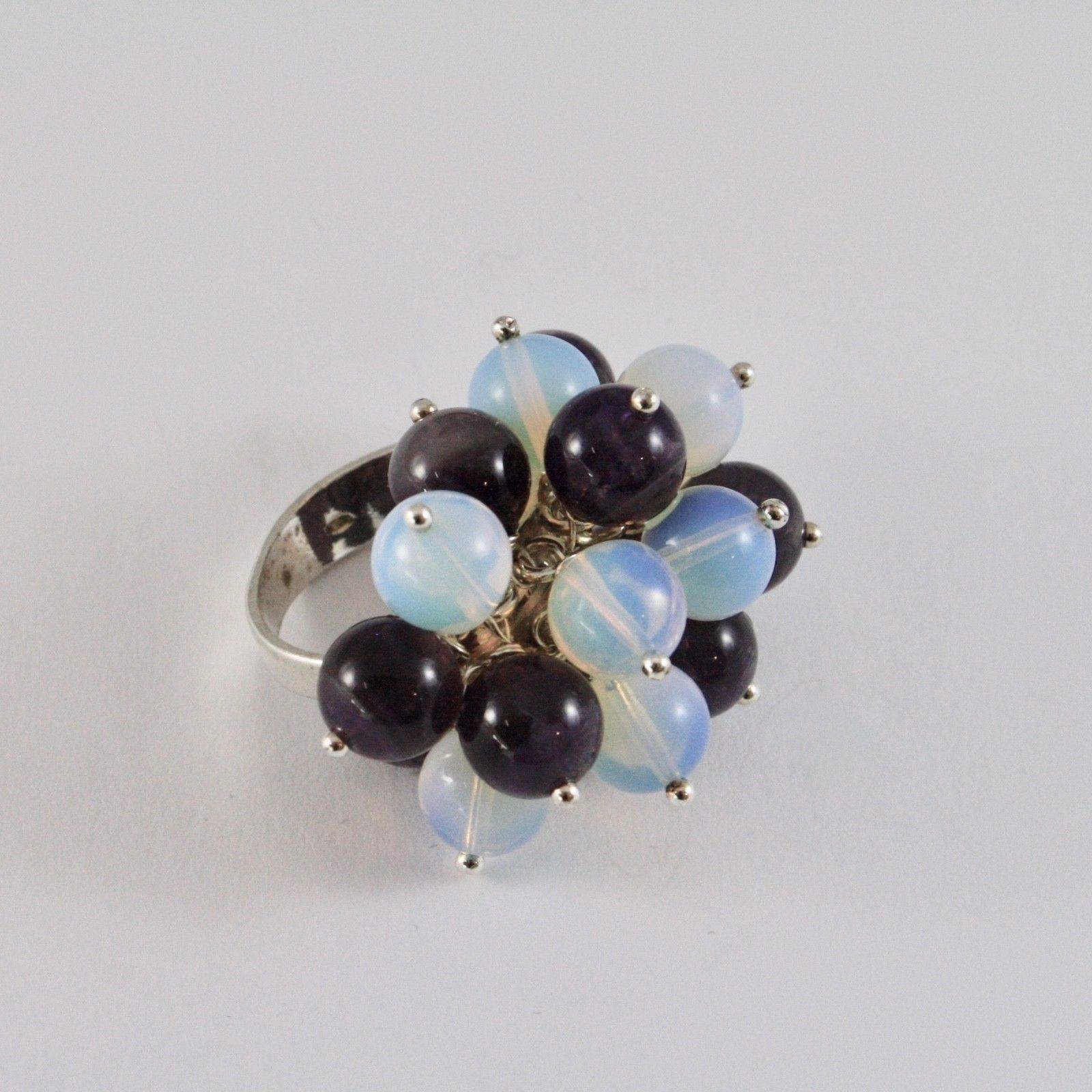 925 SILVER RING CLUSTER MUNITIONS WITH AMETHYST AND OPAL 8 MM SIZE ADJUSTABLE