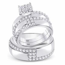 14kt White Gold His Hers Diamond Cluster Matching Bridal Wedding Ring Set 1-1/2 - $1,781.29
