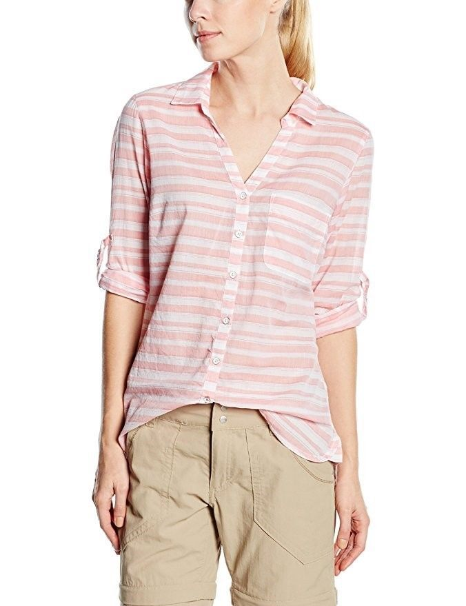 Columbia Women's Shirt Early Tide Button Down Coral Bloom Stripe