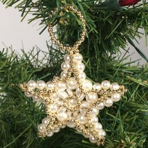 Beaded Star Christmas Ornament Gold tone faux pearl Christmas decoration - $15.65