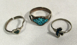 Vintage Rings (3) Sterling Turquoise Size 6 Ring + Two Other Turquoise R... - $7.91