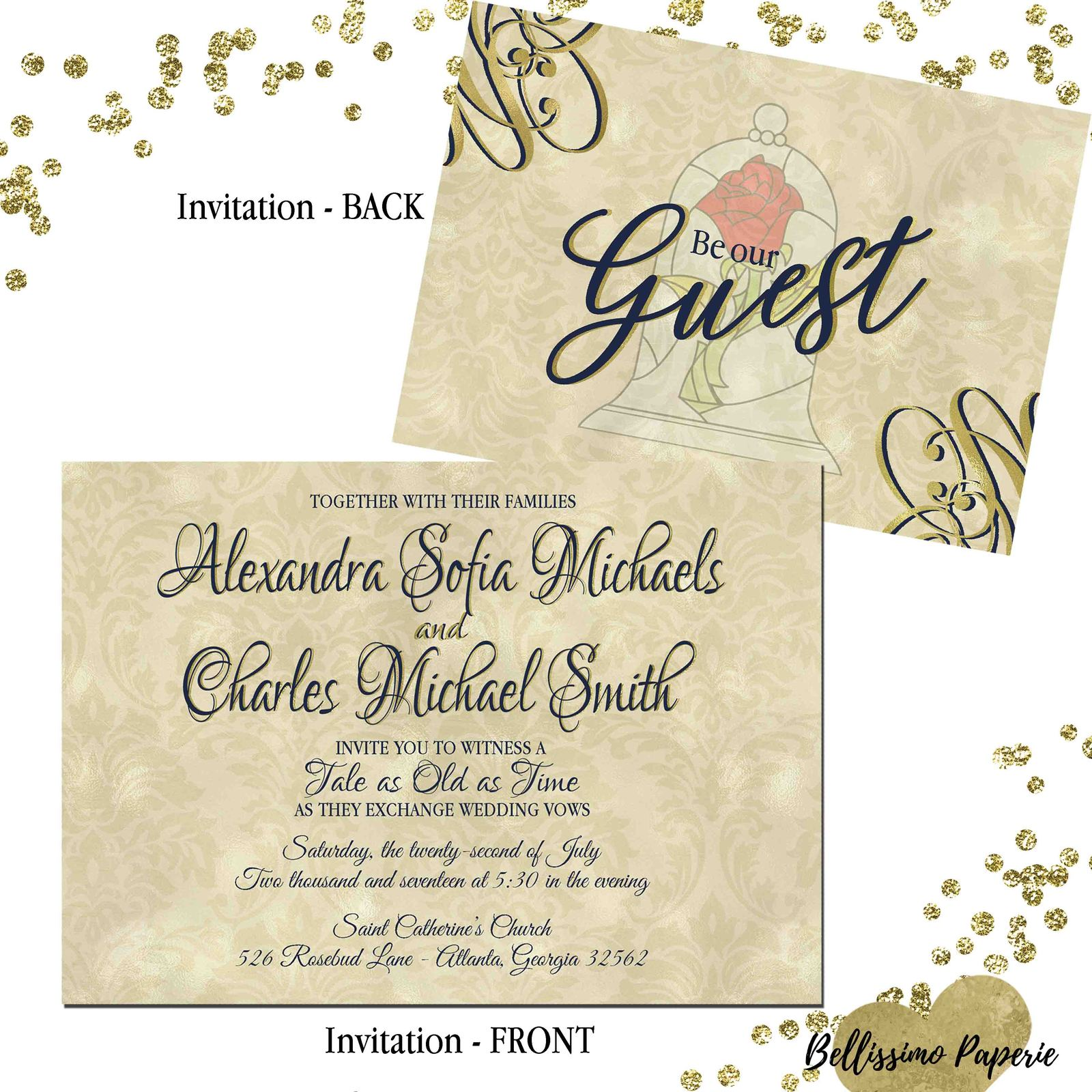 Beauty and the Beast Wedding invitation Set: and similar items