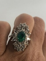 Vintage Flourite Deco Ring 925 Sterling Silver Size 5.25 - $147.45