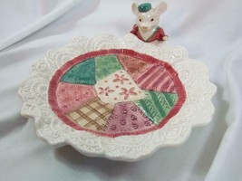 MIB New Fitz & Floyd Christmas Quilt S/ Mouse Canape' Plate - Hard to Find!! - $37.99