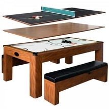 Combo Game Table Cherry 7ft Air Hockey w Table Tennis Conversion Top 2 B... - $1,942.29