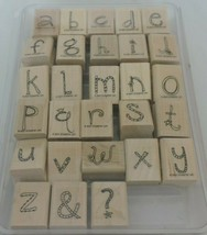 Stampin Up Doodle Alphabet Lowercase Mounted Stamp Set 2007 Letters Kids Crafts - $18.00