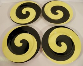 Fitz and Floyd SWIRL Black and Yellow Salad Plate (s) LOT OF 4 - $29.65