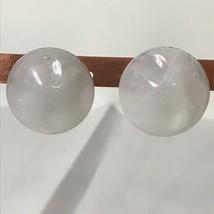 """Swirly White Plastic Pierced Earrings Approx 1"""" - $17.82"""