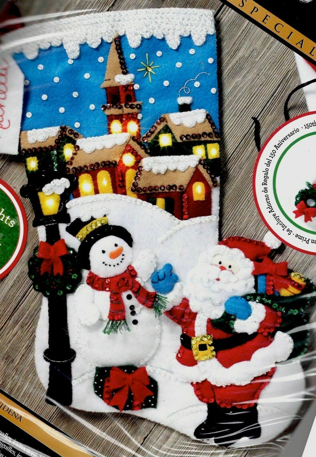 Primary image for Bucilla Christmas Village Santa Snowman Holiday Lighted Felt Stocking Kit 86818