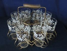 Vtg Hazel Atlas RARE White Daisy Gold Tumbler Glasses Ice Tub Caddy Barware Tong - $67.50