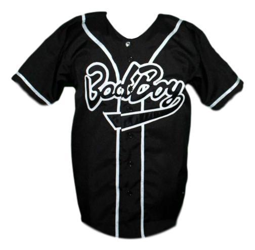 Biggie smalls  10 bad boy baseball jersey button down black   1