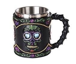 Day of The Dead Celebration Black Sugar Skull Floral Design  Mug Tankard... - £17.86 GBP
