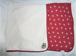 "GYMBOREE BEAR BLANKET Brown Red White 2000 2-Ply 100% Cotton 30x36"" - $44.54"