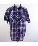 Outlaw Blue Plaid Cowboy Western Short Sleeve Shirt Pearl Snaps Mens Sz L - $26.03