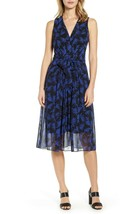 NWT ANNE KLEIN BLUE BLACK PLEATED BELTED MIDI DRESS SIZE 16 $129 - $49.49