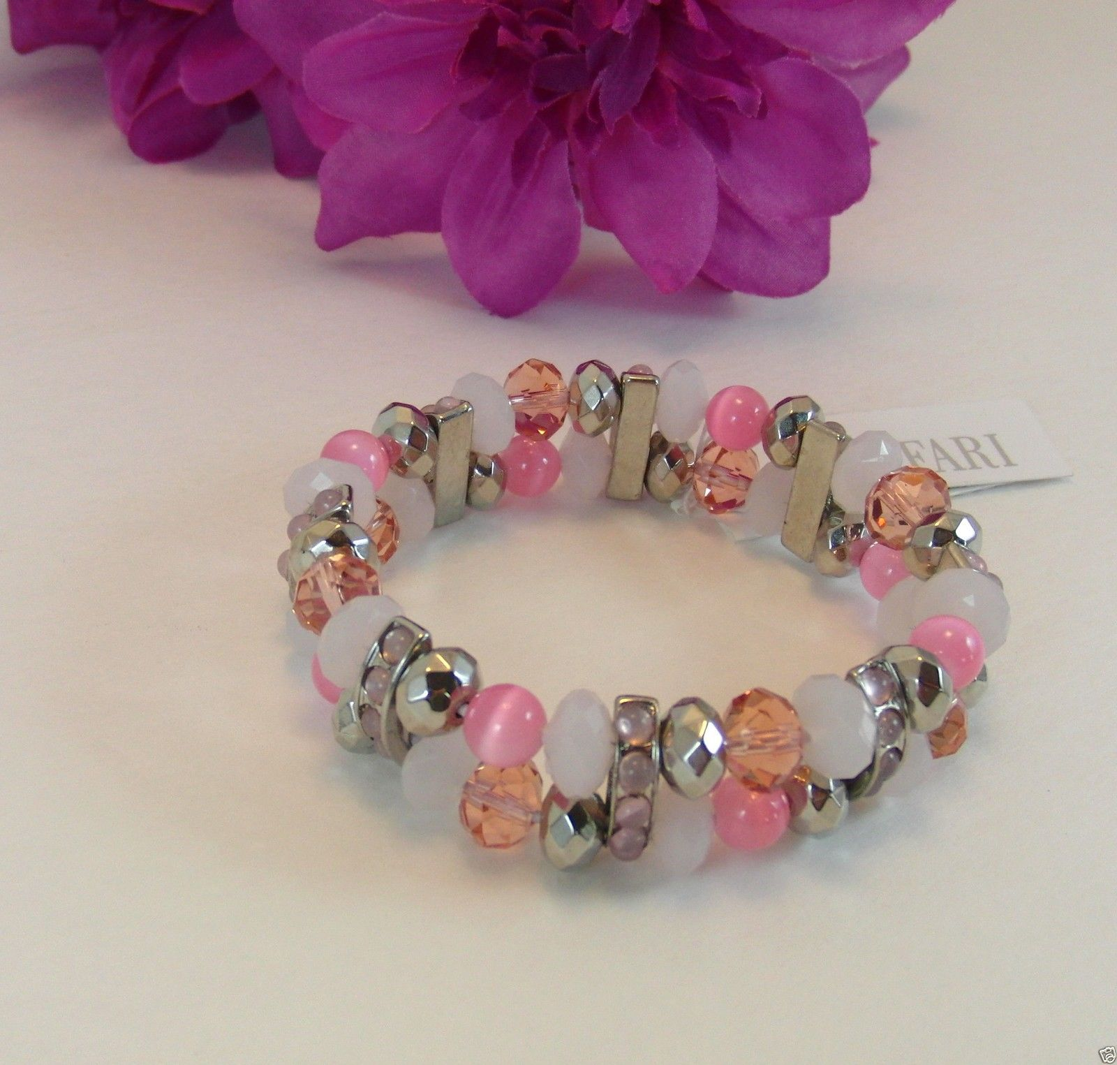 Trifari Enchanted Pink Silvertone Beaded Evening Stretch Bracelet New With Tags