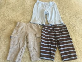 3 Carters Boys Pants Gray Blue Brown Striped 3 Months  - $6.43