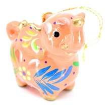 Handcrafted Painted Ceramic Peach Pink Elephant Confetti Ornament Made in Peru image 2