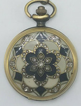 Vintage Style Etched Brass Tone and Cloisonne Quartz Pocket Watch w Chain - $23.95