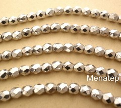 25 6 mm Czech Glass Firepolish Beads: Silver - $2.03