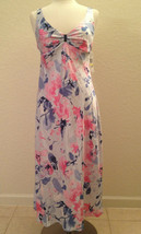 Jones New York Satin Long Gown 1J202G Water Color Splash Medum - $28.80