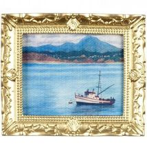 Framed Picture Bateau (Boat) in Frame g7934 DOLLHOUSE Miniature - $5.18