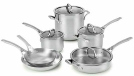 New Calphalon AccuCore Stainless Steel 10-Piece Cookware Set Copper Core