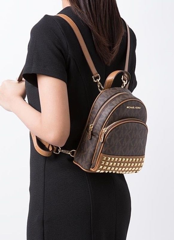 f599c60e5319 S l1600. S l1600. Previous. Michael Kors Abbey Mini Backpack Crossbody Stud  Brown Signature Acorn XSmall