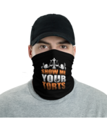 Black Show me your torts Tube Bandanna Neck Gaiter face mask and neck wa... - $21.95