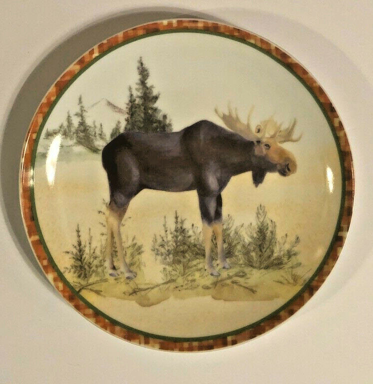 "Moose Ceramic Plates Salad Dessert Lunch Bread Set of 4 Prima Design 8"" Rustic"
