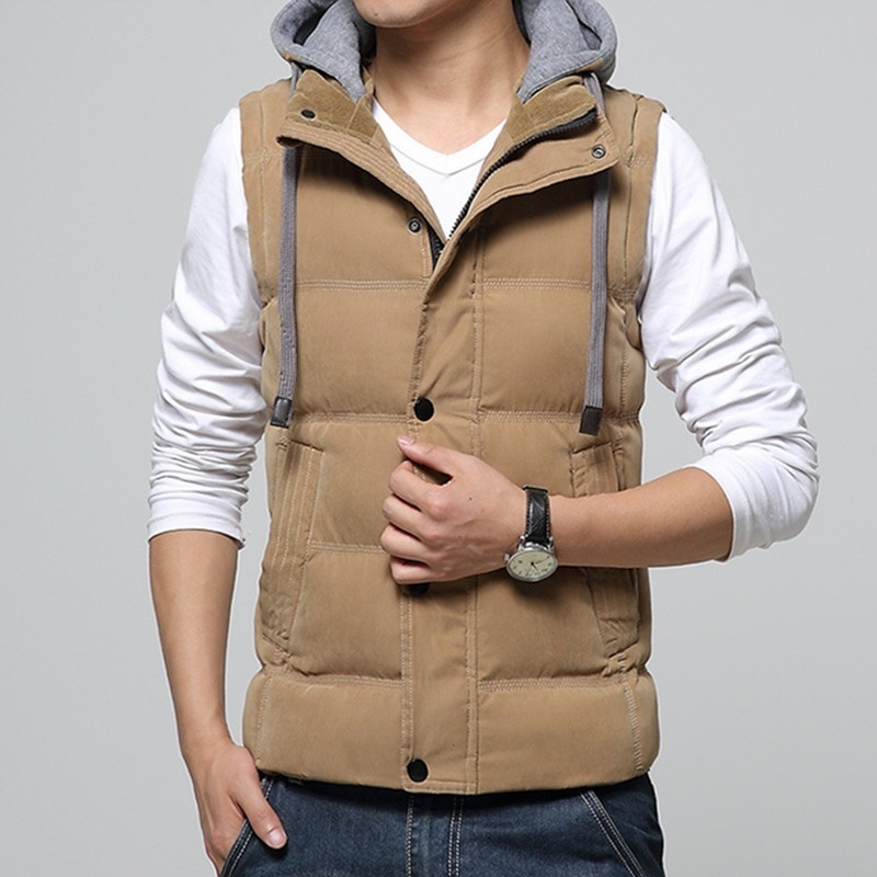 2018 New Fashion Hot Sale Casual Men's Vest Men Slim Fit Waistcoat Hat Detachab