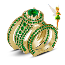 18k Gold Plated 925 Silver Green Sapphire Disney Tinker Bell Fairies Ring Set - $163.80