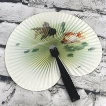 Vtg Folding Hand Fan Paper Oriental  - $24.74