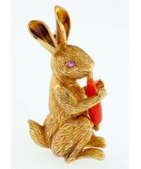 Tiffany & Co. Vintage 18k Yellow Gold Figural Rabbit Brooch w/ Coral Carrot - $3,886.30