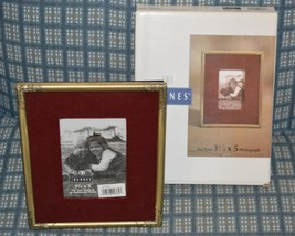 2 Burnes Picture Frames NIB 3.5 x 5 brushed goldtone burg. velvet 377035... - $12.56