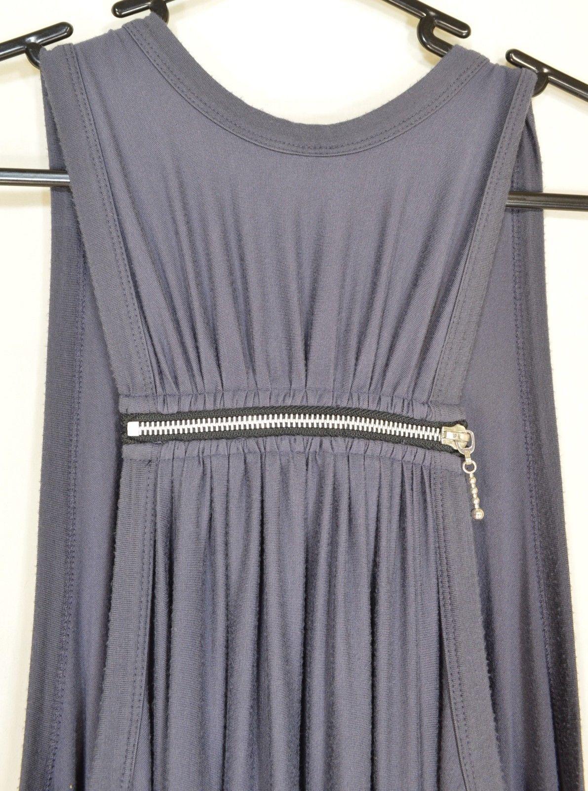 Comfy USA tunic dress SZ S gray sleeveless asymmetrical racer back lagenlook