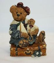 Boyds Bears & Friends Bearstone Resin Figurine Bailey Bear Suitcase 2000... - $12.86
