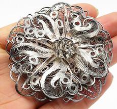 925 Sterling Silver - Vintage Large Filigree Flower Styled Brooch Pin - BP2525 - $62.56